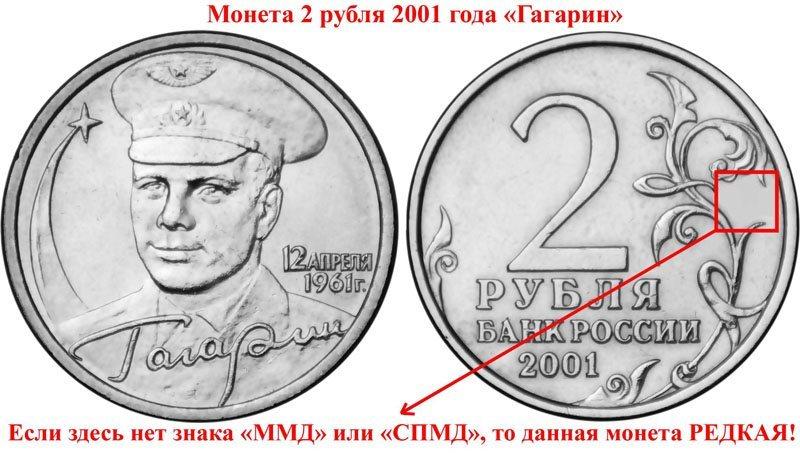 Изображение - Монеты, которые можно продать за большие деньги 1488036216_2-rublya-gagarin-2001-bez-znaka